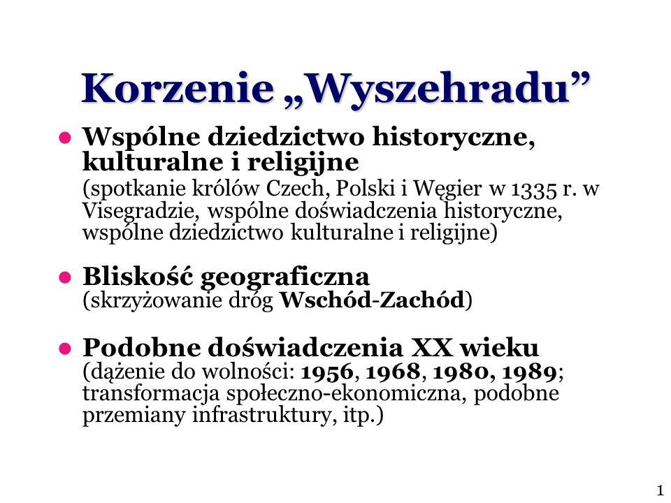Korzenie Wyszehradu Wspólne dziedzictwo historyczne, kulturalne i religijne (spotkanie królów Czech, Polski i Węgier w 1335 r. w Visegradzie, wspólne