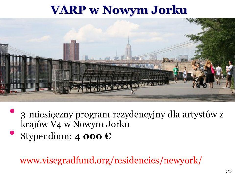 VARP w Nowym Jorku VARP w Nowym Jorku 3-miesięczny program rezydencyjny dla artystów z krajów V4 w Nowym Jorku Stypendium: 4 000 www.visegradfund.org/