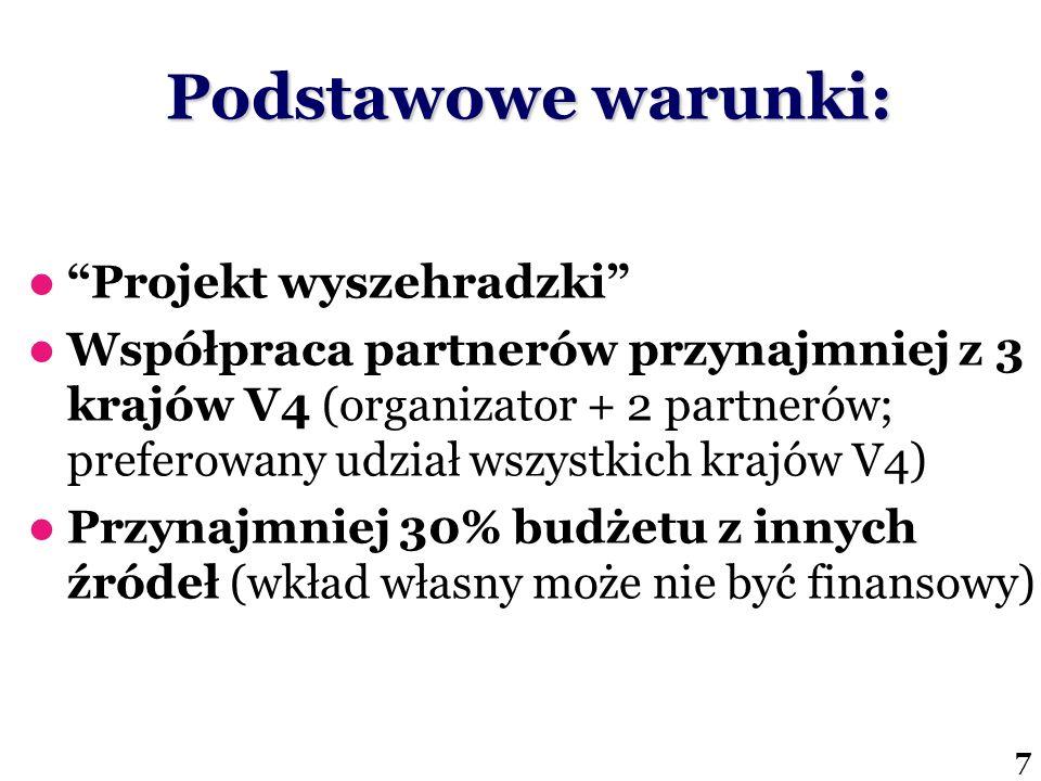 Podstawowe warunki: Projekt wyszehradzki Współpraca partnerów przynajmniej z 3 krajów V4 (organizator + 2 partnerów; preferowany udział wszystkich kra