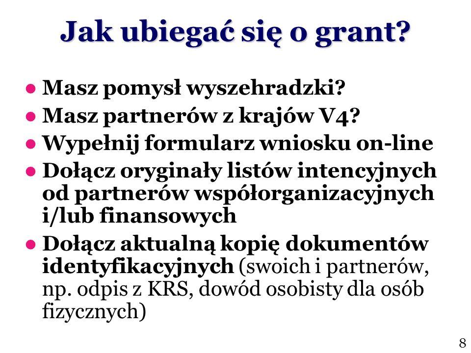 Jak ubiegać się o grant? Masz pomysł wyszehradzki? Masz partnerów z krajów V4? Wypełnij formularz wniosku on-line Dołącz oryginały listów intencyjnych