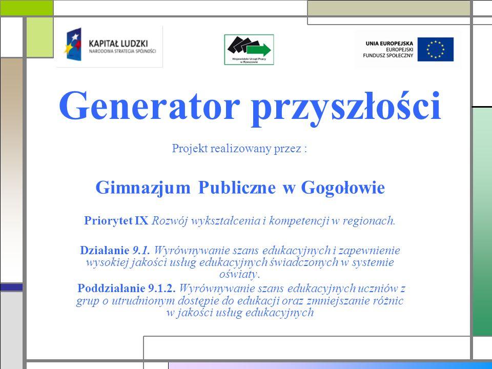 Generator przyszłości Projekt realizowany przez : Gimnazjum Publiczne w Gogołowie Priorytet IX Rozwój wykształcenia i kompetencji w regionach.
