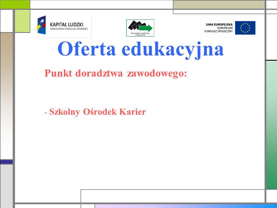 Oferta edukacyjna Punkt doradztwa zawodowego: - Szkolny Ośrodek Karier