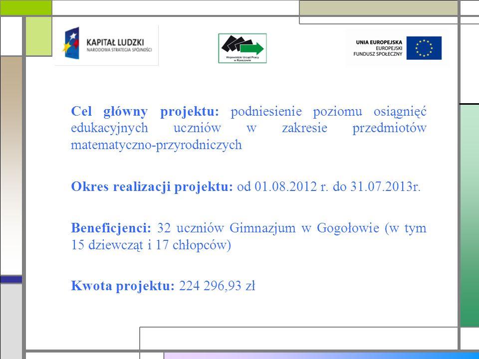 Cel główny projektu: podniesienie poziomu osiągnięć edukacyjnych uczniów w zakresie przedmiotów matematyczno-przyrodniczych Okres realizacji projektu: od 01.08.2012 r.