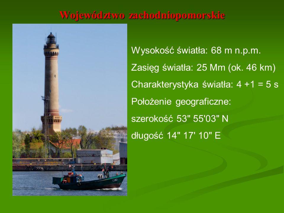 Województwo zachodniopomorskie Wysokość światła: 68 m n.p.m. Zasięg światła: 25 Mm (ok. 46 km) Charakterystyka światła: 4 +1 = 5 s Położenie geografic