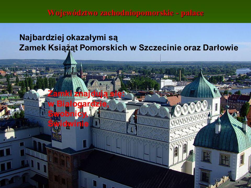 Województwo zachodniopomorskie - pałace Najbardziej okazałymi są Zamek Książąt Pomorskich w Szczecinie oraz Darłowie Zamki znajdują się: w Białogardzi