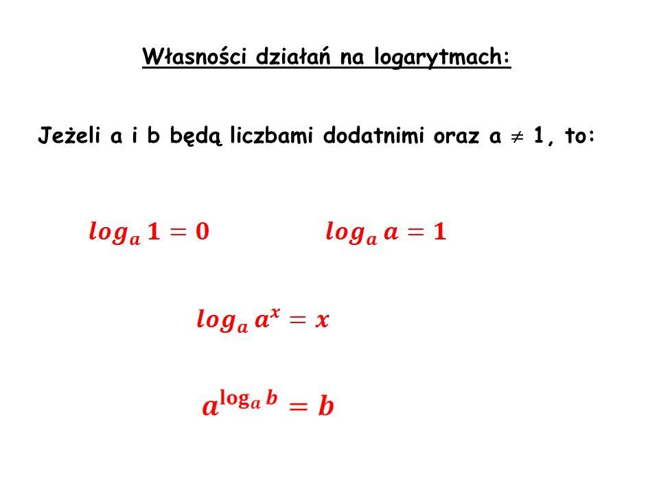 Własności działań na logarytmach: Jeżeli a i b będą liczbami dodatnimi oraz a 1, to: