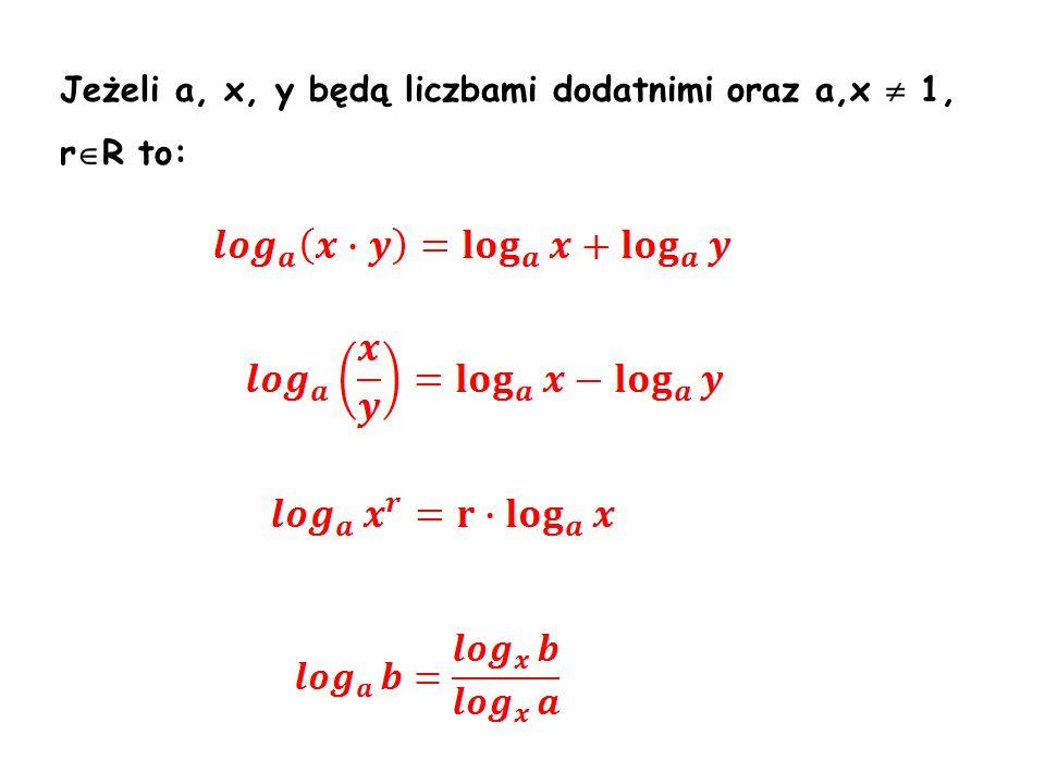 Jeżeli a, x, y będą liczbami dodatnimi oraz a,x 1, r R to: