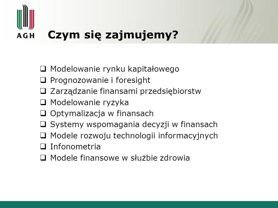 Działalność Koła – Grupy tematyczne Infonometria: modele rynków informacji ekonomicznej i finansowej oraz społeczeństwa informacyjnego, e-health i e-government, Prognozowanie cen metali nieżelaznych i szlachetnych oraz innych rynków surowcowych, Prognozowanie kursów walut, modele rynków walutowych, Modele ewolucji technologii, innowacji, przedsiębiorstw, rynków, Modele rynków kapitałowych, mikrostruktura rynków, Efektywność finansowa inwestycji, zastosowania opcji rzeczywistych, Rynek energii elektrycznej, giełdy energii i derywatów pogodowych, Modelowanie decyzji finansowych oraz systemy wspomagania decyzji Studenci zainteresowani pracami w jednej (lub w kilku) z grup proszeni są o kontakt z Przewodniczącą Koła