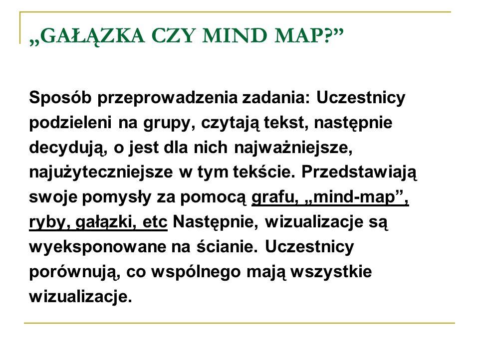 GAŁĄZKA CZY MIND MAP? Sposób przeprowadzenia zadania: Uczestnicy podzieleni na grupy, czytają tekst, następnie decydują, o jest dla nich najważniejsze