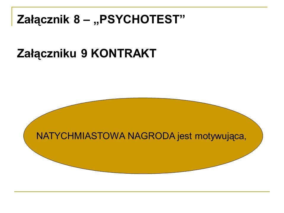 Załącznik 8 – PSYCHOTEST Załączniku 9 KONTRAKT NATYCHMIASTOWA NAGRODA jest motywująca,