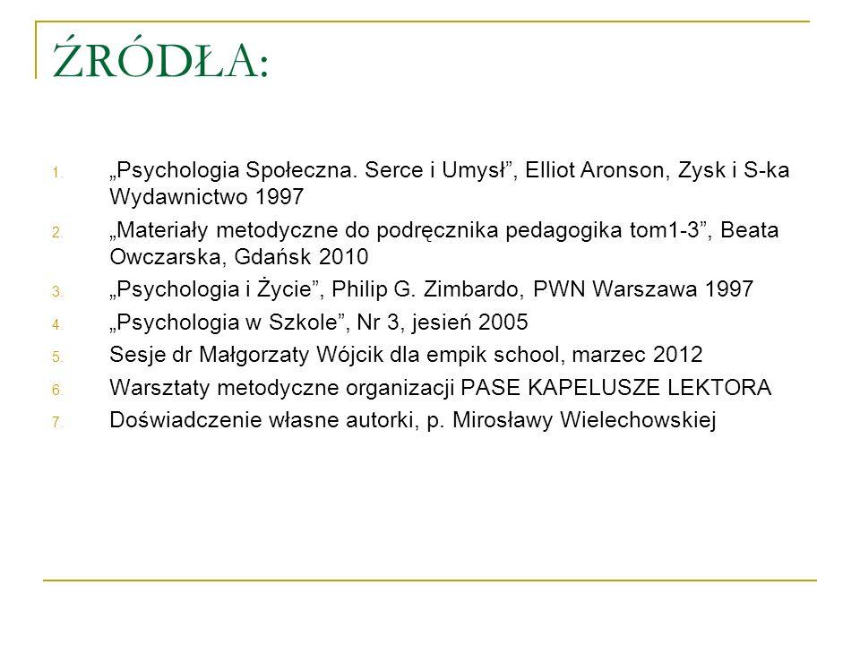ŹRÓDŁA: 1. Psychologia Społeczna. Serce i Umysł, Elliot Aronson, Zysk i S-ka Wydawnictwo 1997 2. Materiały metodyczne do podręcznika pedagogika tom1-3