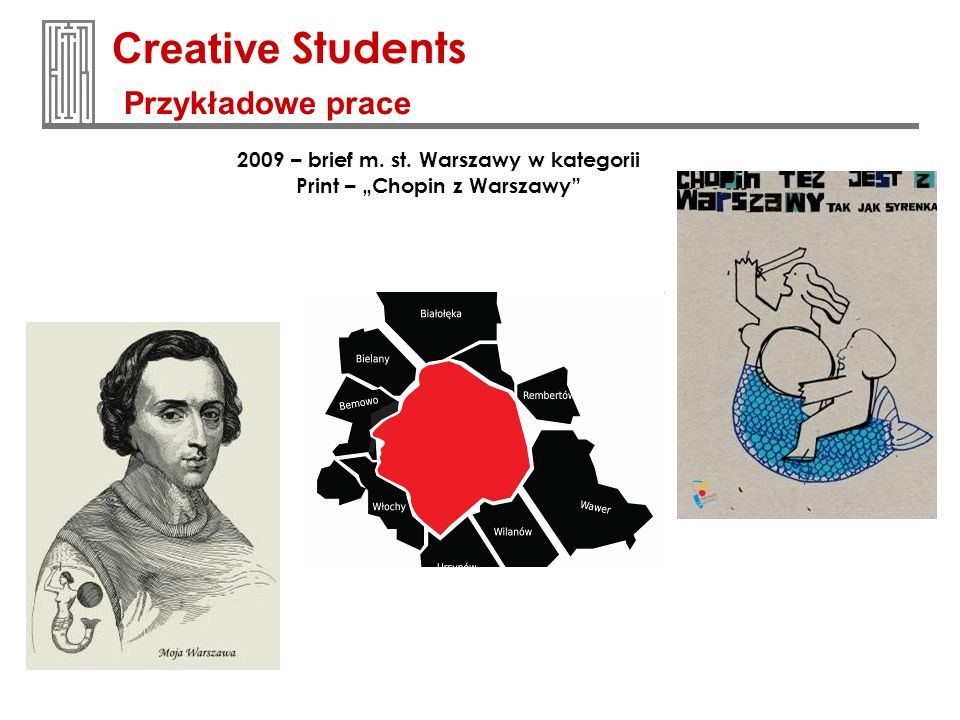 Creative Students Przykładowe prace 2009 – brief m. st. Warszawy w kategorii Print – Chopin z Warszawy