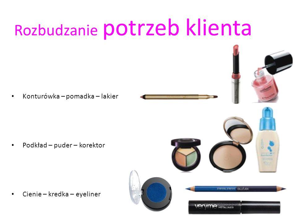 Rozbudzanie potrzeb klienta Konturówka – pomadka – lakier Podkład – puder – korektor Cienie – kredka – eyeliner