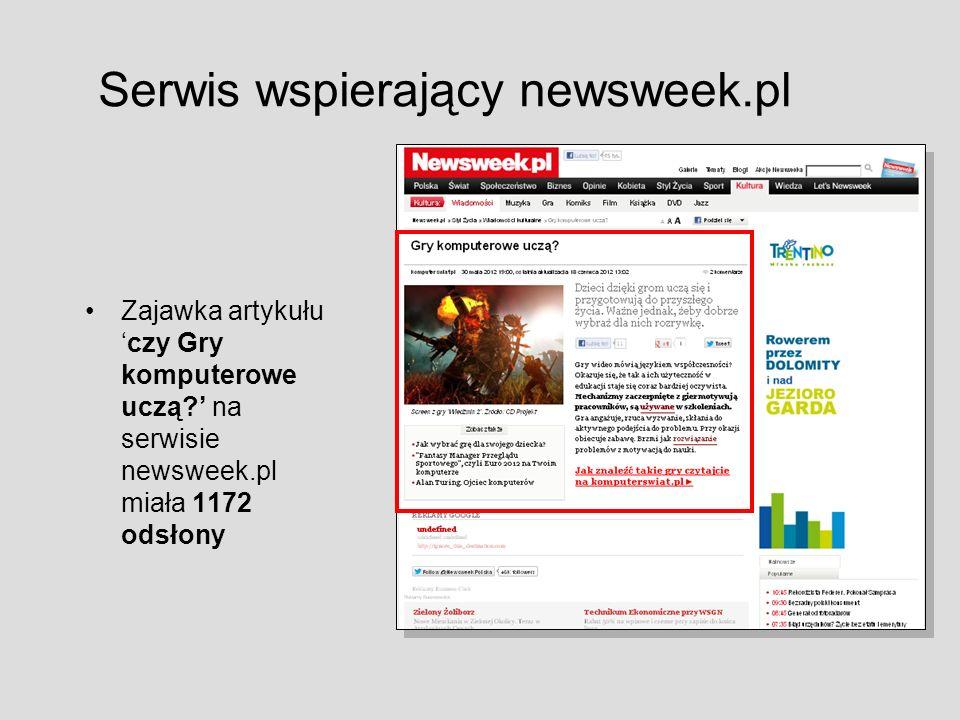 Serwis wspierający newsweek.pl Zajawka artykułuczy Gry komputerowe uczą? na serwisie newsweek.pl miała 1172 odsłony