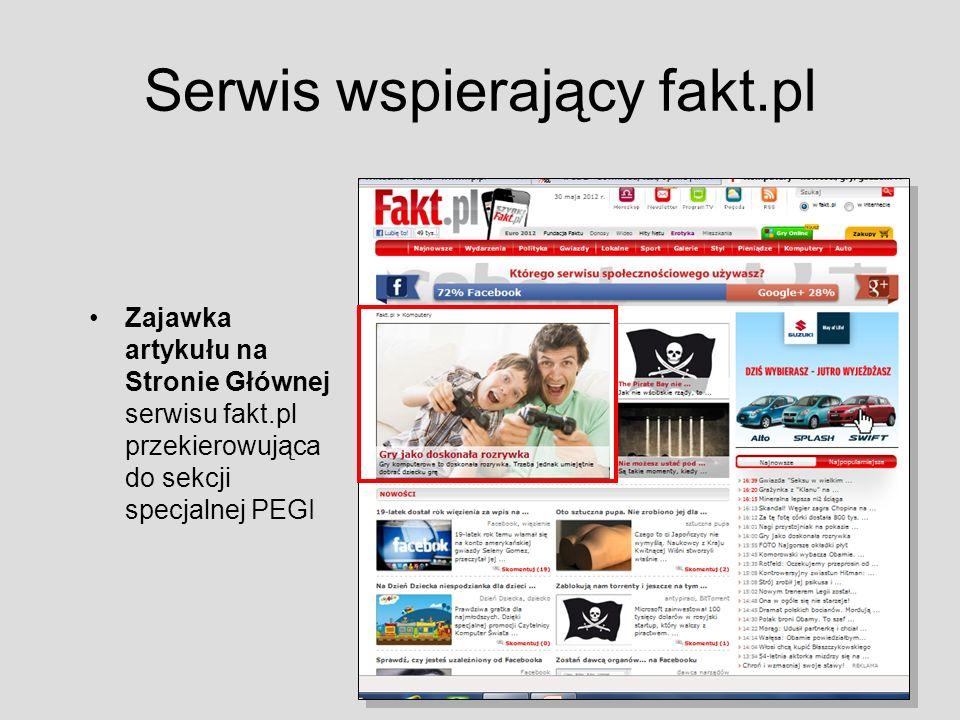Serwis wspierający fakt.pl Zajawka artykułu na Stronie Głównej serwisu fakt.pl przekierowująca do sekcji specjalnej PEGI