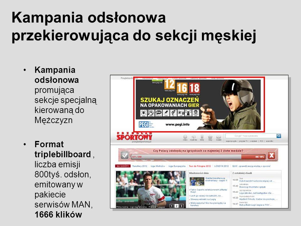 Kampania odsłonowa promująca sekcje specjalną kierowaną do Mężczyzn Format triplebillboard, liczba emisji 800tyś. odsłon, emitowany w pakiecie serwisó