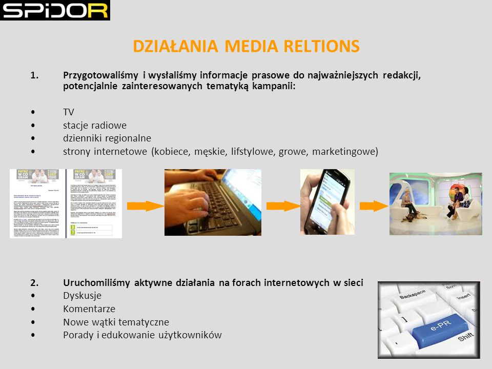 DZIAŁANIA MEDIA RELTIONS 1.Przygotowaliśmy i wysłaliśmy informacje prasowe do najważniejszych redakcji, potencjalnie zainteresowanych tematyką kampanii: TV stacje radiowe dzienniki regionalne strony internetowe (kobiece, męskie, lifstylowe, growe, marketingowe) 2.Uruchomiliśmy aktywne działania na forach internetowych w sieci Dyskusje Komentarze Nowe wątki tematyczne Porady i edukowanie użytkowników