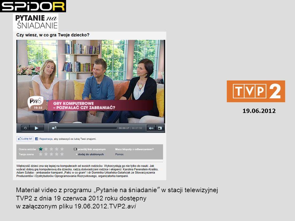 19.06.2012 Materiał video z programu Pytanie na śniadanie w stacji telewizyjnej TVP2 z dnia 19 czerwca 2012 roku dostępny w załączonym pliku 19.06.201