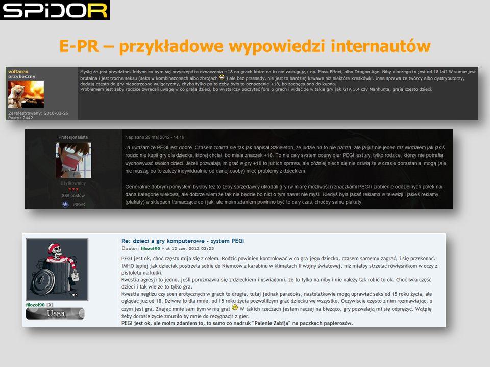 E-PR – przykładowe wypowiedzi internautów