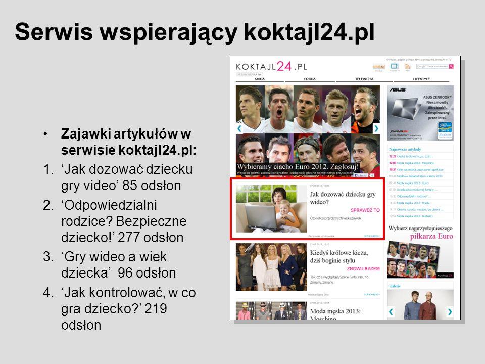 Zajawki artykułów w serwisie koktajl24.pl: 1.Jak dozować dziecku gry video 85 odsłon 2.Odpowiedzialni rodzice.