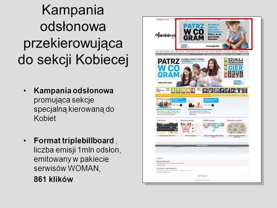 Kampania odsłonowa przekierowująca do sekcji Kobiecej Kampania odsłonowa promująca sekcje specjalną kierowaną do Kobiet Format triplebillboard, liczba