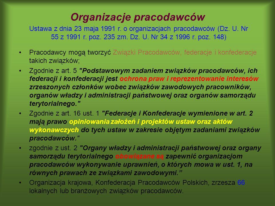 Organizacje pracodawców Pracodawcy mogą tworzyć Związki Pracodawców, federacje i konfederacje takich związków; Zgodnie z art. 5