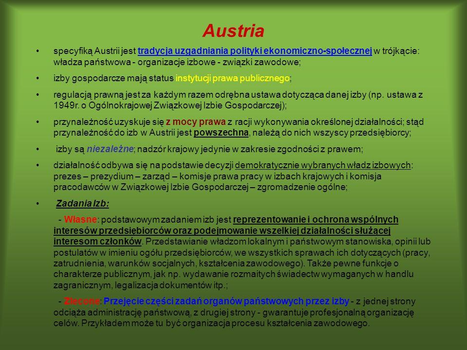 Austria specyfiką Austrii jest tradycja uzgadniania polityki ekonomiczno-społecznej w trójkącie: władza państwowa - organizacje izbowe - związki zawod