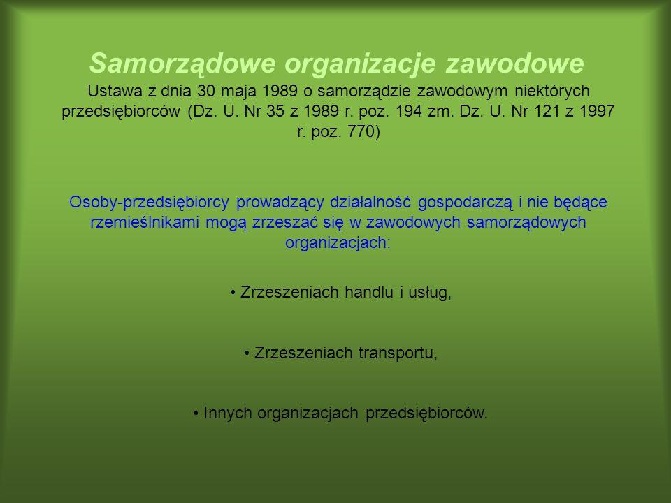 Samorządowe organizacje zawodowe Ustawa z dnia 30 maja 1989 o samorządzie zawodowym niektórych przedsiębiorców (Dz. U. Nr 35 z 1989 r. poz. 194 zm. Dz