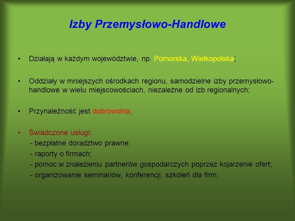 Izby Przemysłowo-Handlowe Działają w każdym województwie, np. Pomorska, Wielkopolska ; Oddziały w mniejszych ośrodkach regionu, samodzielne izby przem