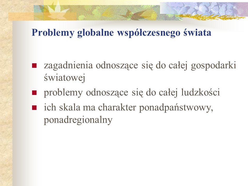 Problemy globalne współczesnego świata zagadnienia odnoszące się do całej gospodarki światowej problemy odnoszące się do całej ludzkości ich skala ma