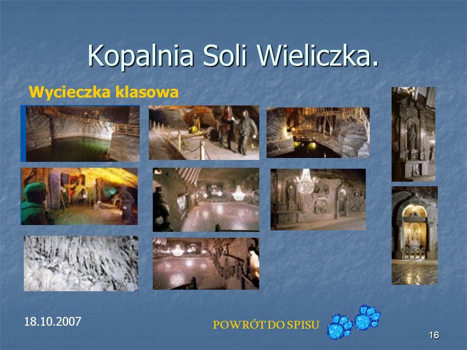 16 Kopalnia Soli Wieliczka. Wycieczka klasowa 18.10.2007 POWRÓT DO SPISU