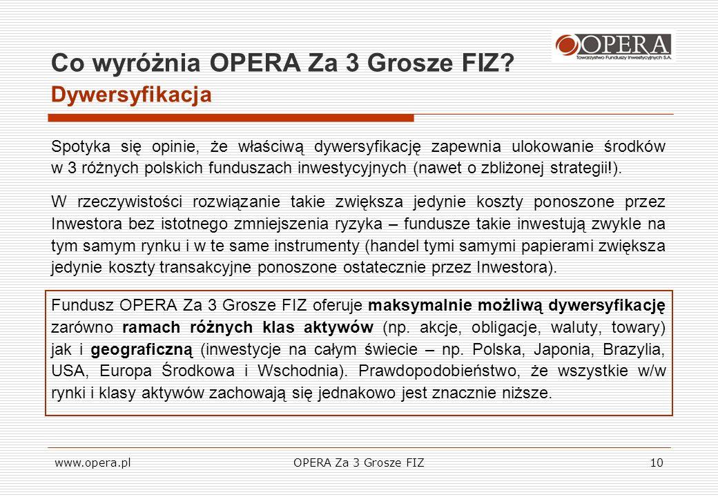www.opera.plOPERA Za 3 Grosze FIZ10 Co wyróżnia OPERA Za 3 Grosze FIZ? Dywersyfikacja Spotyka się opinie, że właściwą dywersyfikację zapewnia ulokowan