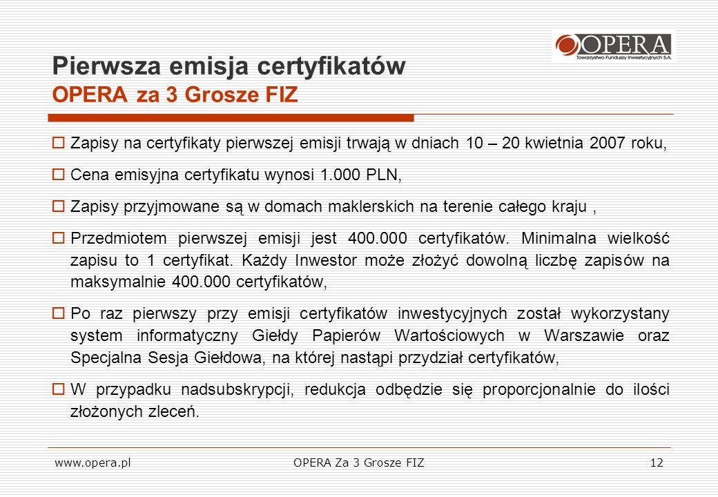 www.opera.plOPERA Za 3 Grosze FIZ12 Pierwsza emisja certyfikatów OPERA za 3 Grosze FIZ Zapisy na certyfikaty pierwszej emisji trwają w dniach 10 – 20