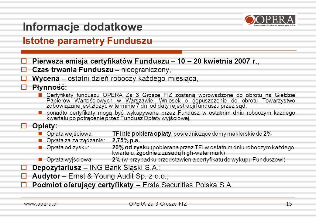 www.opera.plOPERA Za 3 Grosze FIZ15 Informacje dodatkowe Istotne parametry Funduszu Pierwsza emisja certyfikatów Funduszu – 10 – 20 kwietnia 2007 r.,