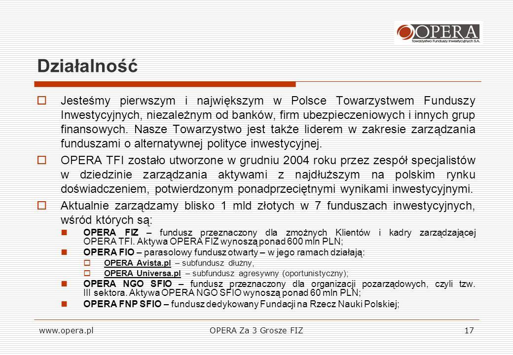 www.opera.plOPERA Za 3 Grosze FIZ17 Działalność Jesteśmy pierwszym i największym w Polsce Towarzystwem Funduszy Inwestycyjnych, niezależnym od banków,