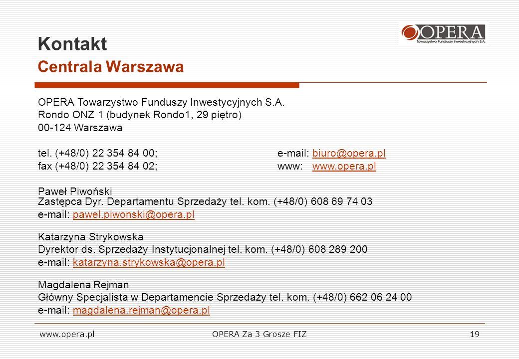www.opera.plOPERA Za 3 Grosze FIZ19 Kontakt Centrala Warszawa OPERA Towarzystwo Funduszy Inwestycyjnych S.A. Rondo ONZ 1 (budynek Rondo1, 29 piętro) 0