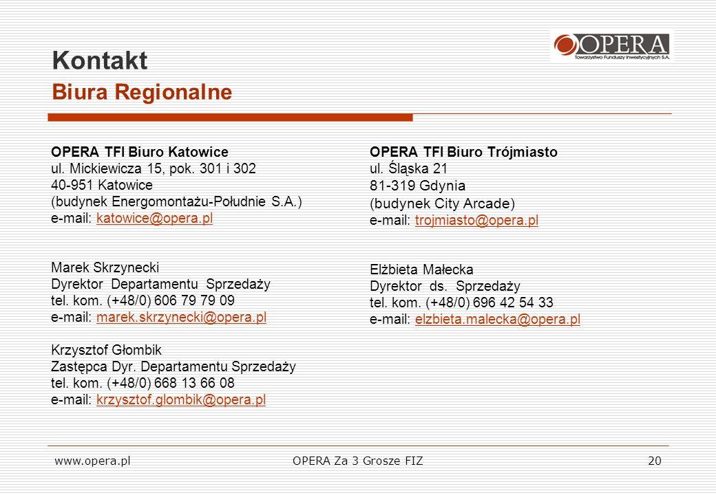 www.opera.plOPERA Za 3 Grosze FIZ20 Kontakt Biura Regionalne OPERA TFI Biuro Katowice ul. Mickiewicza 15, pok. 301 i 302 40-951 Katowice (budynek Ener