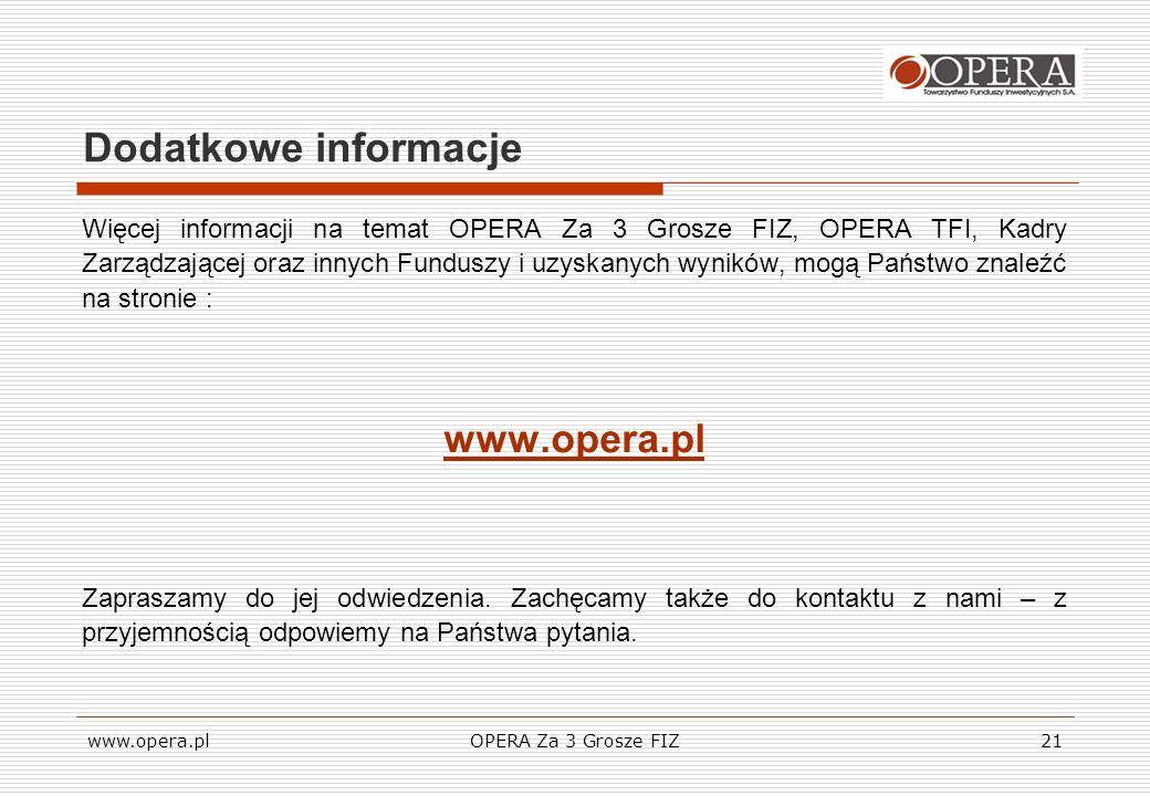 www.opera.plOPERA Za 3 Grosze FIZ21 Dodatkowe informacje Więcej informacji na temat OPERA Za 3 Grosze FIZ, OPERA TFI, Kadry Zarządzającej oraz innych