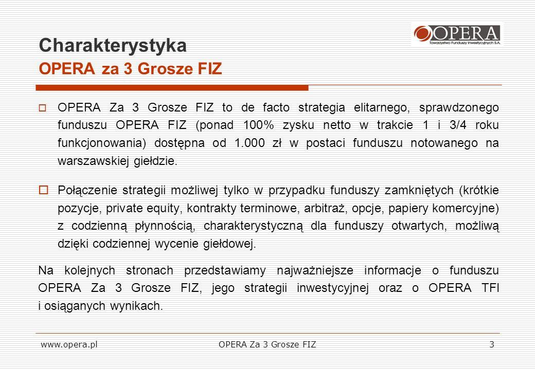 www.opera.plOPERA Za 3 Grosze FIZ14 Koszty inwestycji OPERA za 3 Grosze FIZ OPERA TFI nie pobiera opłat dystrybucyjnych przy zapisach na certyfikaty, Domy maklerskie przyjmujące zapisy na certyfikaty są uprawnione do pobrania prowizji w wysokości maksymalnie 2% wartości złożonego zapisu W rzeczywistości wysokość prowizji pobieranej przy zapisie rozpoczyna się już od 0,25% - w sprawie szczegółowych informacji prosimy o kontakt, Inwestor ma prawo w ostatnim dniu roboczym kwartału przedstawić certyfikaty do wykupu przez Fundusz.