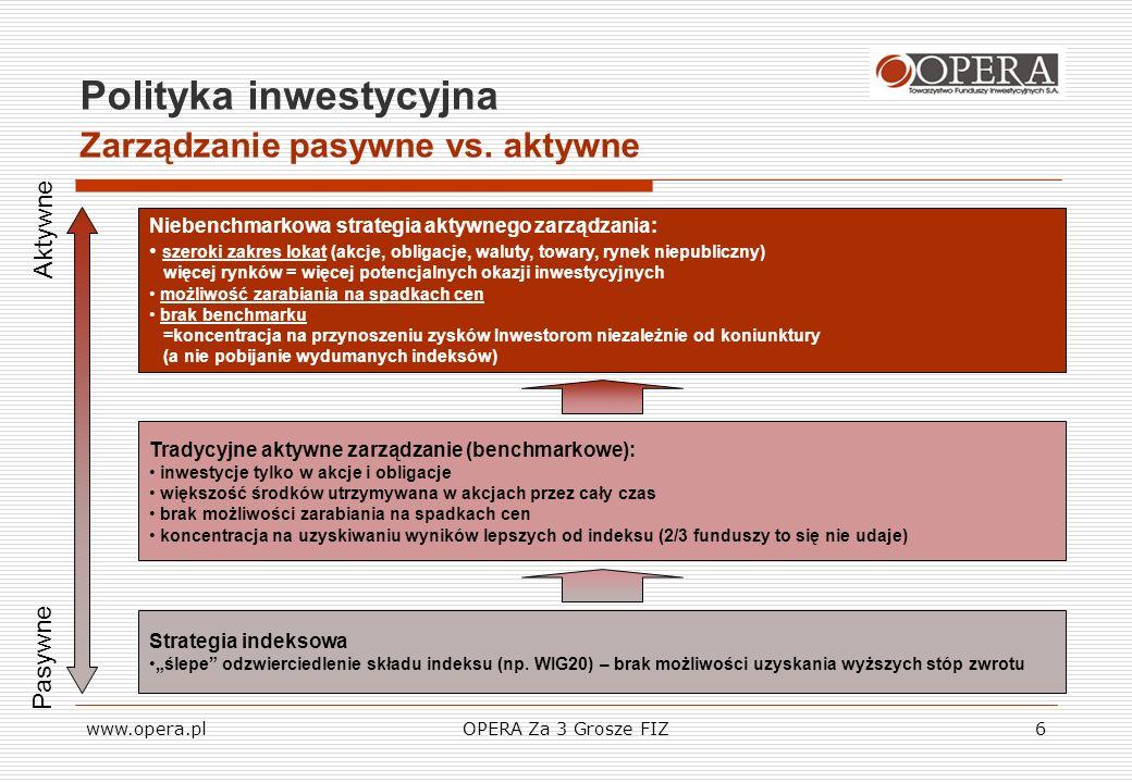 www.opera.plOPERA Za 3 Grosze FIZ7 Polityka inwestycyjna Aktywne zarządzanie Elastyczność jaką daje nam polityka aktywnego zarządzania sprawia, że Zarządzający są w stanie wykorzystać więcej nadarzających się okazji inwestycyjnych.