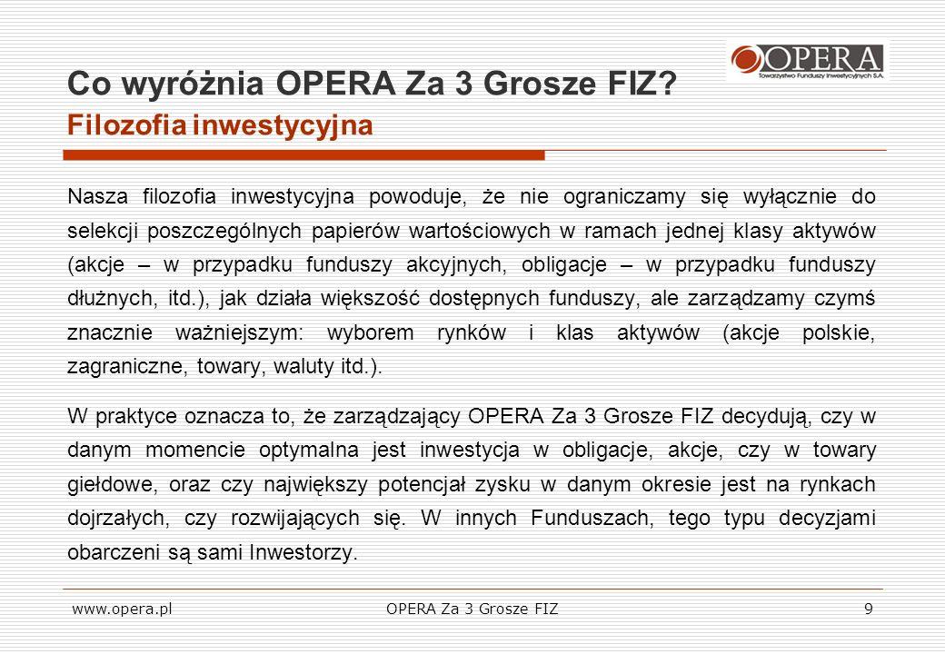 www.opera.plOPERA Za 3 Grosze FIZ9 Co wyróżnia OPERA Za 3 Grosze FIZ? Filozofia inwestycyjna Nasza filozofia inwestycyjna powoduje, że nie ograniczamy