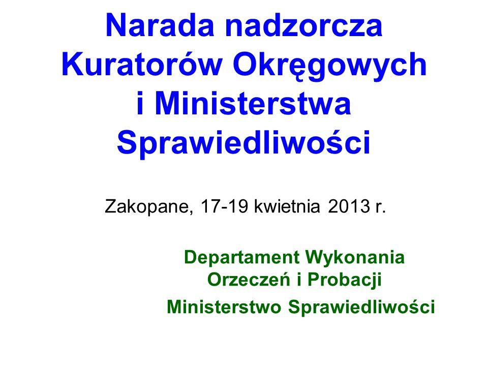 Narada nadzorcza Kuratorów Okręgowych i Ministerstwa Sprawiedliwości Zakopane, 17-19 kwietnia 2013 r. Departament Wykonania Orzeczeń i Probacji Minist