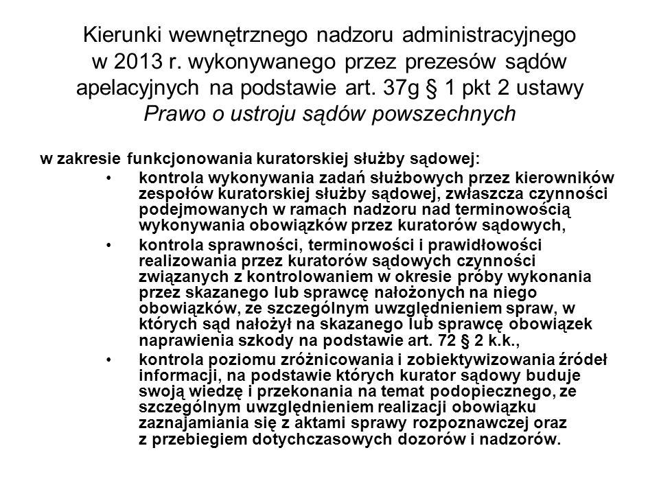 Kierunki wewnętrznego nadzoru administracyjnego w 2013 r. wykonywanego przez prezesów sądów apelacyjnych na podstawie art. 37g § 1 pkt 2 ustawy Prawo