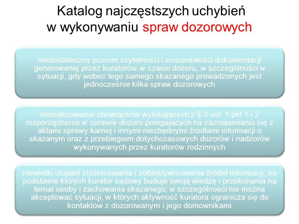 Katalog najczęstszych uchybień w wykonywaniu spraw dozorowych niedostateczny poziom czytelności i zrozumiałości dokumentacji generowanej przez kurator