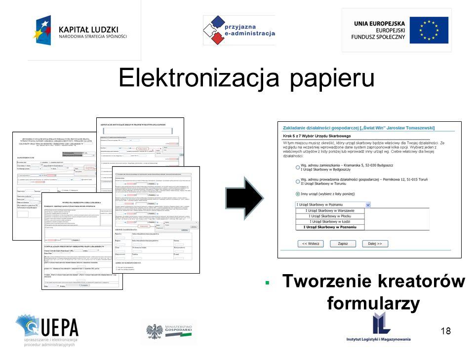 Tworzenie kreatorów formularzy Elektronizacja papieru 18