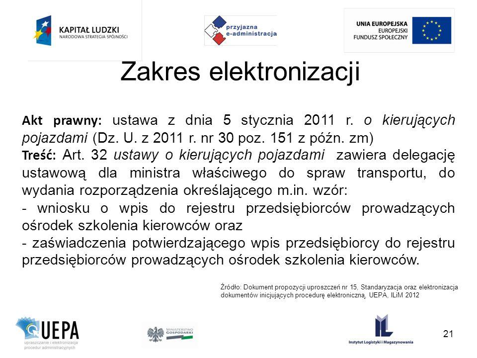 Zakres elektronizacji Akt prawny: ustawa z dnia 5 stycznia 2011 r. o kierujących pojazdami (Dz. U. z 2011 r. nr 30 poz. 151 z późn. zm) Treść: Art. 32