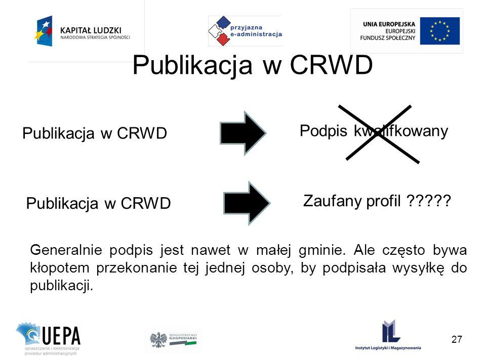 Publikacja w CRWD Podpis kwalifkowany Publikacja w CRWD Zaufany profil ????? Generalnie podpis jest nawet w małej gminie. Ale często bywa kłopotem prz