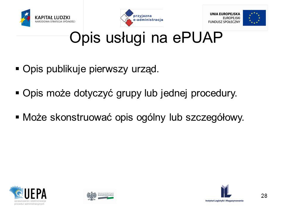 Opis usługi na ePUAP Opis publikuje pierwszy urząd. Opis może dotyczyć grupy lub jednej procedury. Może skonstruować opis ogólny lub szczegółowy. 28