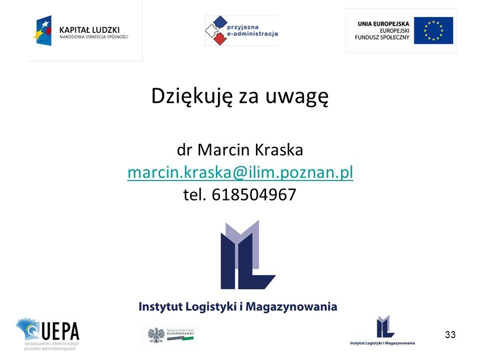 Dziękuję za uwagę dr Marcin Kraska marcin.kraska@ilim.poznan.pl tel. 618504967 marcin.kraska@ilim.poznan.pl 33