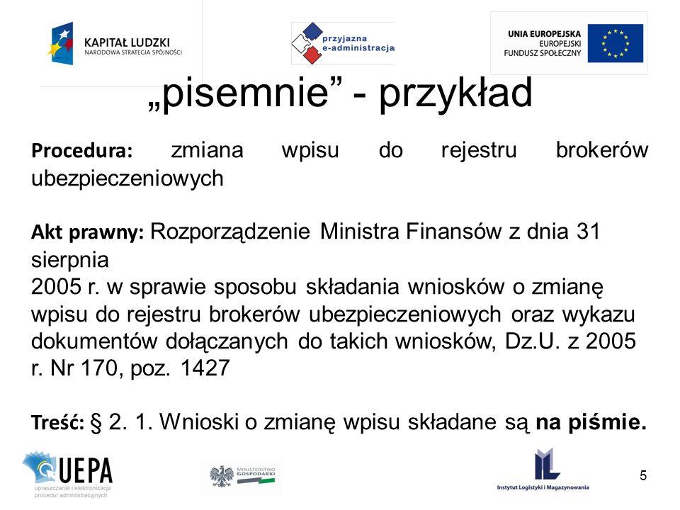 pisemnie - przykład Procedura: zmiana wpisu do rejestru brokerów ubezpieczeniowych Akt prawny: Rozporządzenie Ministra Finansów z dnia 31 sierpnia 200